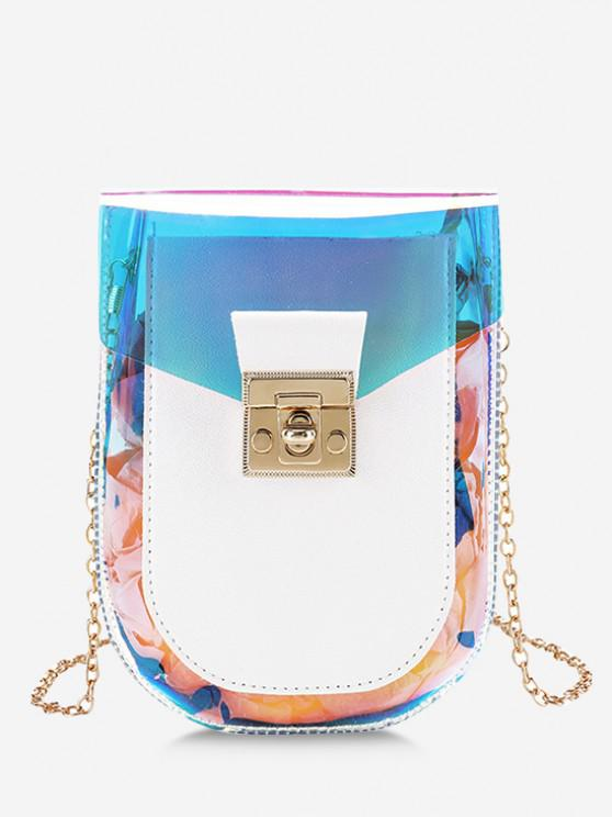 trendy Iridescent Spliced Twist-Lock Chain Crossbody Bag - WHITE