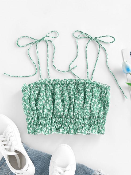 shops ZAFUL Ditsy Print Ruffle Tie Shoulder Camisole - LIGHT GREEN S