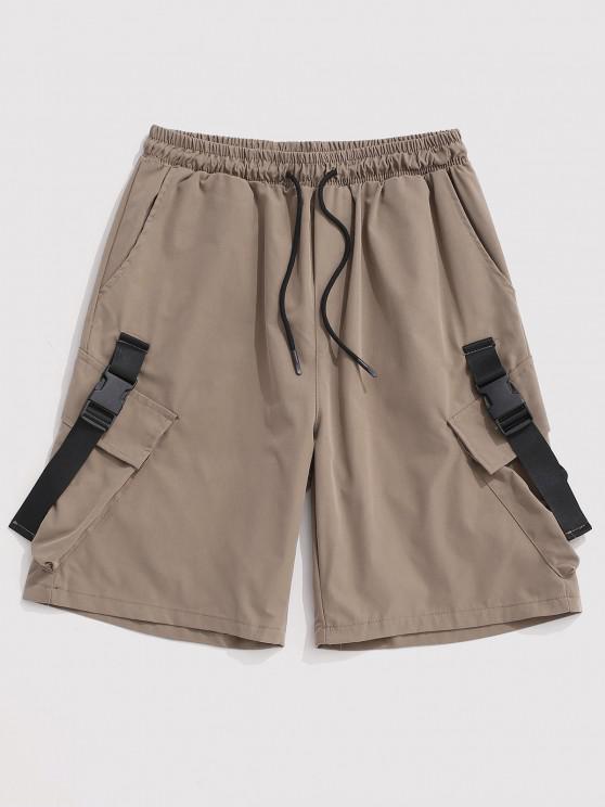 Pantaloncini Cargo con Coulisse e Multi-Tasche - Cachi Chiaro 2XL