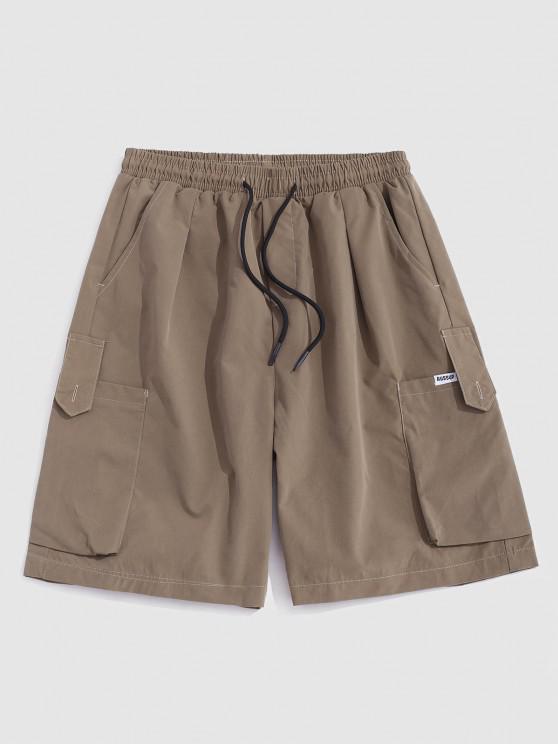 Pantaloncini Cargo Larghi con Multi-Tasche e Coulisse - Cachi Chiaro XL