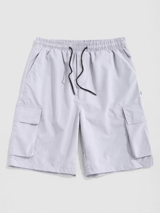 Pantaloncini Cargo con Stampa a Lettera e Multi Tasche - Grigio M