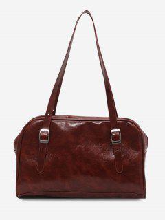 Retro Buckles Solid Shoulder Bag - Deep Brown