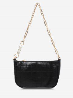Faux Pearl Chain Stitching Shoulder Bag - Black