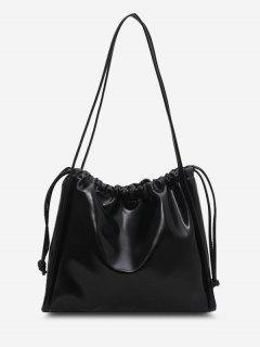 Solid Drawstring Shoulder Bag - Black