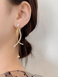 Rhinestone Embellished Crossed Golden Dangle Earrings - Golden