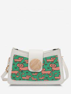 Cat Print Colorblock Round Button Shoulder Bag - White