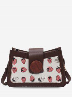 Strawberry Print Big Round Button Shoulder Bag - Light Coffee