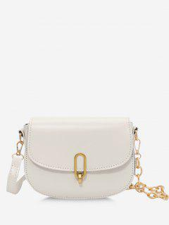 Flap Half Chunky Chain Saddle Bag - White