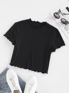 ZAFUL Ribbed Lettuce Trim Basic T Shirt - Black S