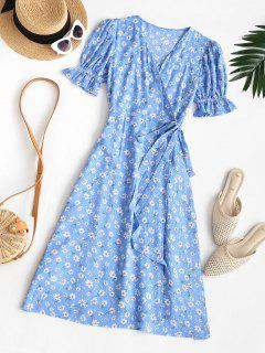 Puff Sleeve Daisy Print Wrap Dress - Blue M