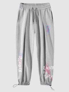 Pantalon De Jogging Lettre Graffitis - Gris Clair Xl