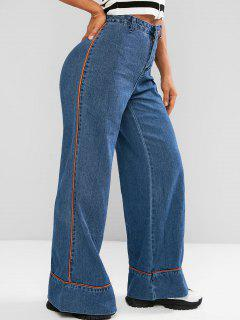 Contrast Piping High Waisted Bell Bottom Jeans - Blue M