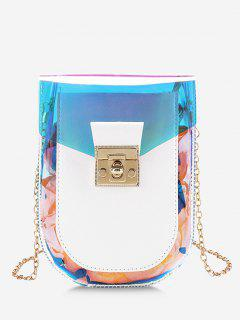 Iridescent Spliced Twist-Lock Chain Crossbody Bag - White