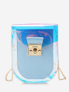 Iridescent Spliced Twist-Lock Chain Crossbody Bag - Light Sky Blue