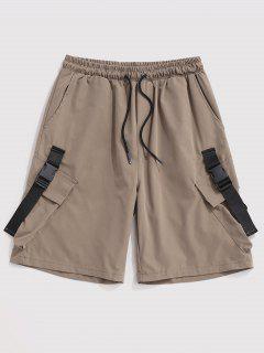 Multi-Pocket Strap Drawstring Cargo Shorts - Light Khaki M