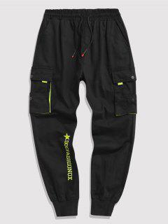 Contrasting Letter Beam Feet Cargo Pants - Black Xl