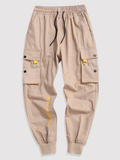 Contrasting Letter Beam Feet Cargo Pants - Light Khaki M