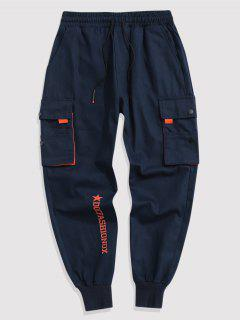 Contrasting Letter Beam Feet Cargo Pants - Cadetblue M