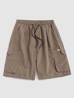 Multi-pocket Drawstring Loose Cargo Shorts - Light Khaki L