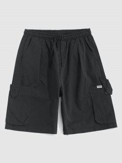Multi-pocket Drawstring Loose Cargo Shorts - Black M
