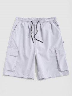 Multi-pocket Letter Patch Cargo Shorts - Gray L