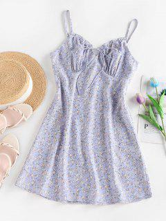 ZAFUL Ditsy Floral Cupped Tie Cami Sundress - Light Purple S