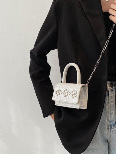 リベット装飾エンボスチェーンショルダーバッグ - 白  Mobile