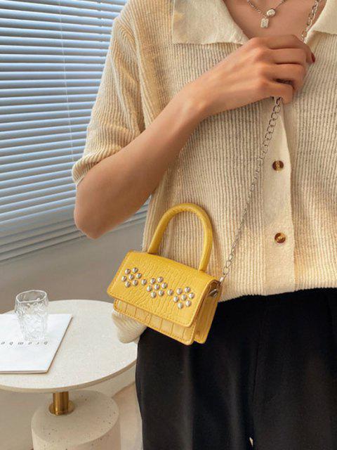 Sac à Bandoulière Embelli de Chaîne Gaufré avec Rivet - Jaune Soleil  Mobile