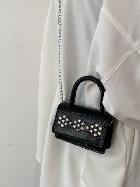 Rivet Embellished Embossed Chain Crossbody Bag - أسود  Mobile
