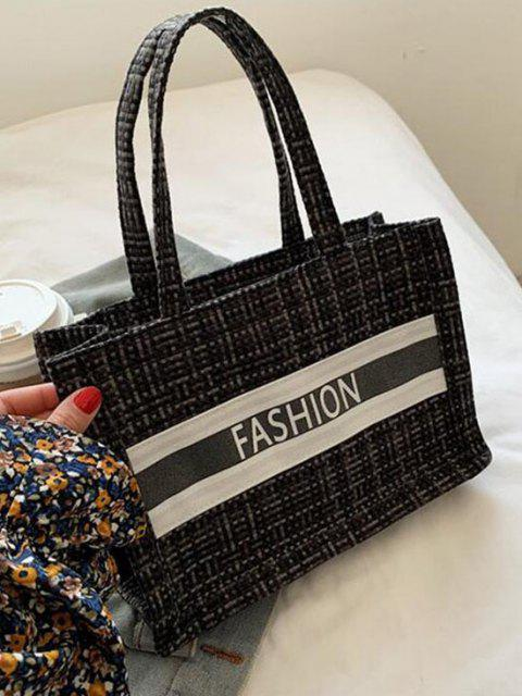 ladies Letter Print Plaid Canvas Casual Tote Bag - BLACK  Mobile