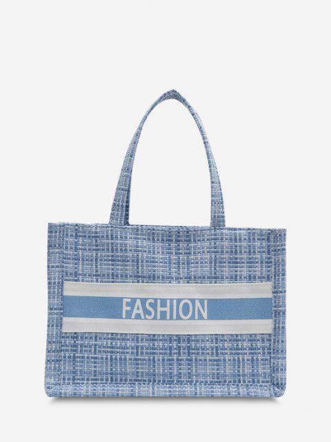 best Letter Print Plaid Canvas Casual Tote Bag - SEA BLUE  Mobile