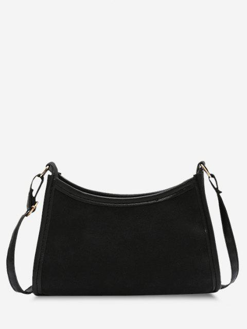 new Frosted Texture Topstitching Binding Shoulder Bag - BLACK  Mobile