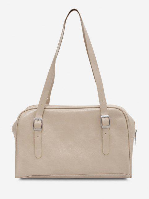 hot Retro Buckles Solid Shoulder Bag - WHITE  Mobile