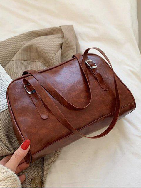 outfit Retro Buckles Solid Shoulder Bag - DEEP BROWN  Mobile