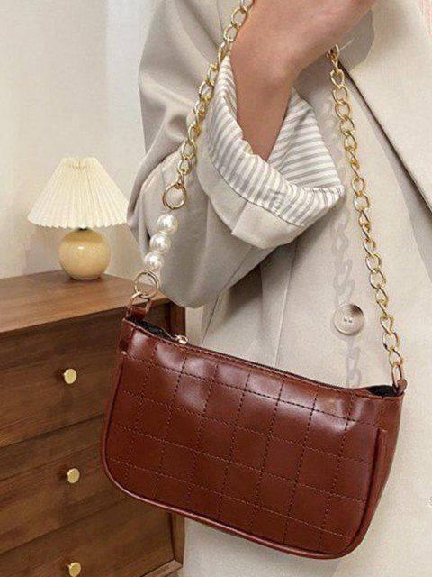 shop Faux Pearl Chain Stitching Shoulder Bag - BROWN  Mobile