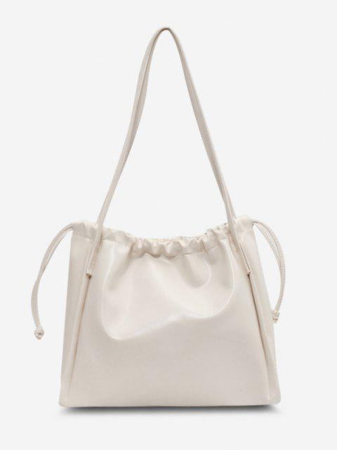 latest Solid Drawstring Shoulder Bag - WHITE  Mobile