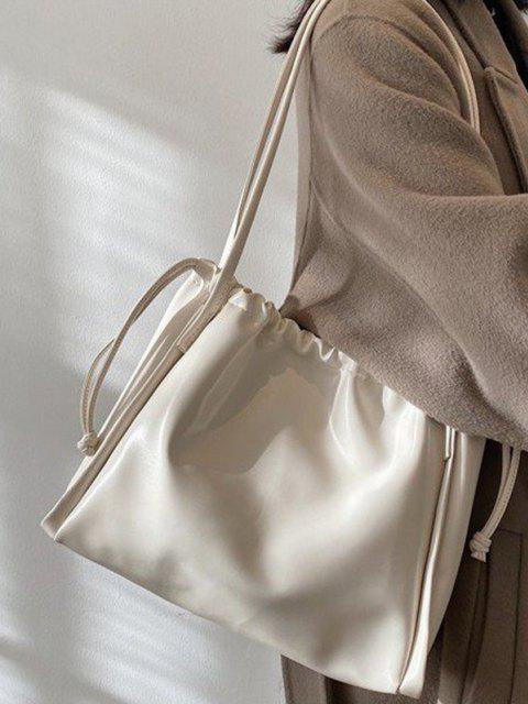 latest Solid Drawstring Shoulder Bag - WHITE  Mobile