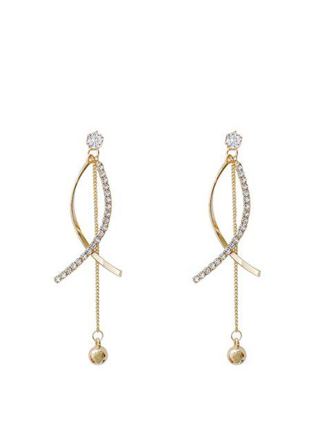 Pendientes de Oro Embellecido Imitacion de Diamantes - dorado  Mobile