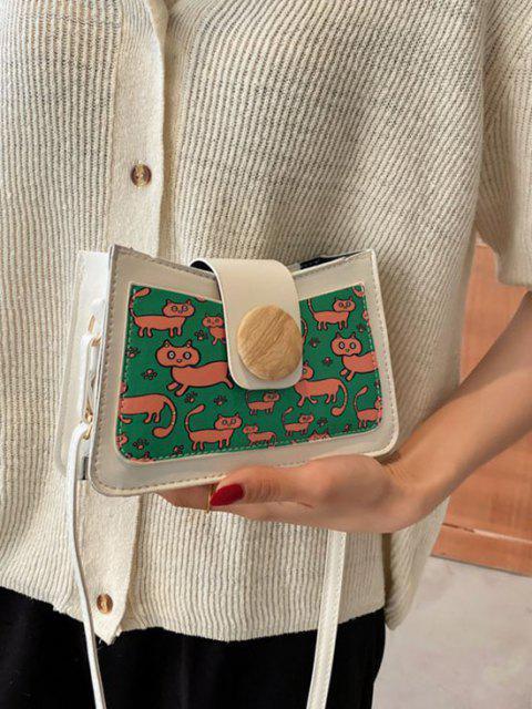 Sac à Bandoulière Chat Imprimé en Blocs de Couleurs avec Bouton - Blanc  Mobile