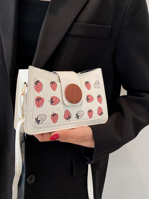 Sac à Bandoulière Rond Fraise Imprimée avec Bouton - Blanc  Mobile