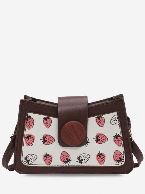 lady Strawberry Print Big Round Button Shoulder Bag - LIGHT COFFEE  Mobile