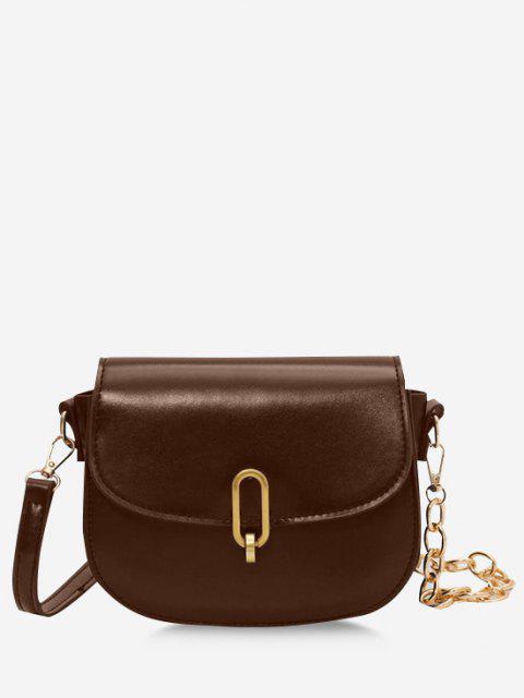 Flap Half Chunky Chain Saddle Bag - قهوة  Mobile