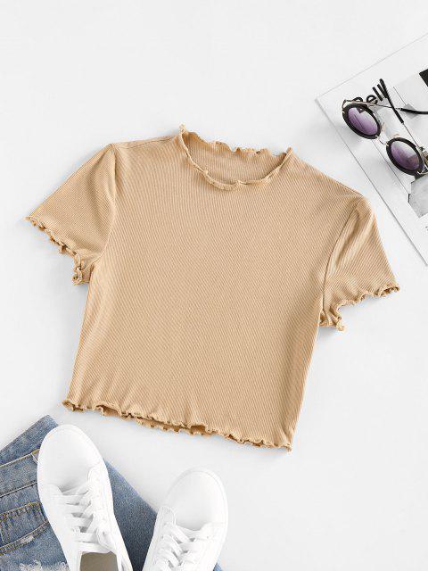 ZAFUL T-shirt de Base Côtelé à Ourlet en Laitue - café lumière L Mobile