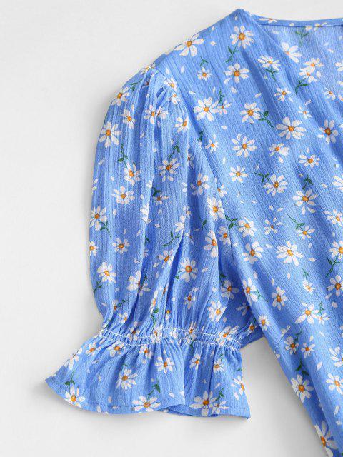 women Puff Sleeve Daisy Print Wrap Dress - BLUE M Mobile