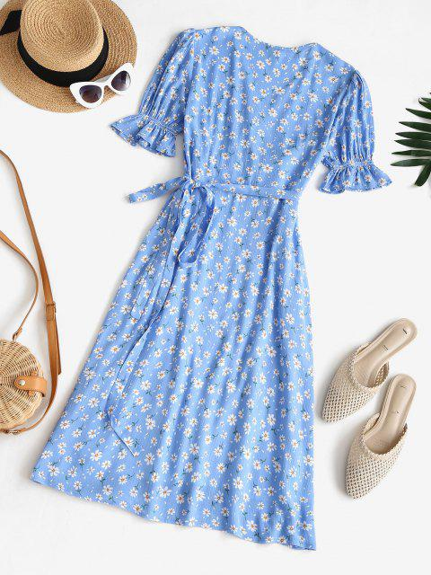 shops Puff Sleeve Daisy Print Wrap Dress - BLUE L Mobile
