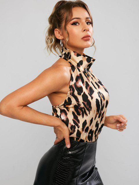 lady Open Back Leopard Print Tank Top - LEOPARD M Mobile