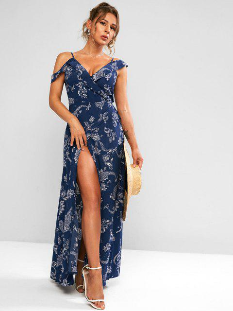 shop Paisley Print Cold Shoulder Maxi Wrap Dress - DEEP BLUE M Mobile