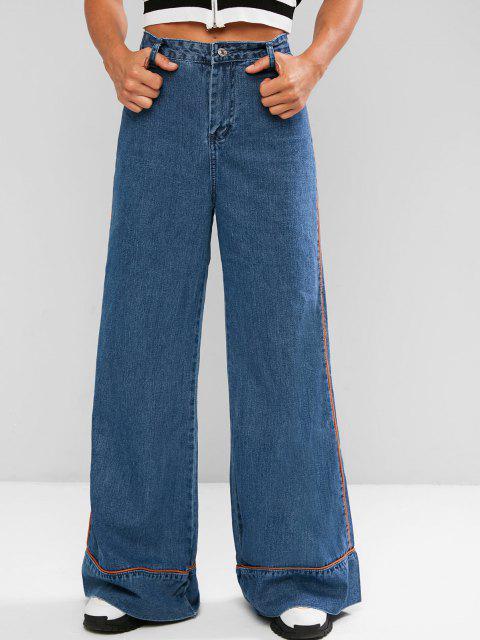 Kontrastfarbene Glocke Unterteile Jeans mit Hoher Taille - Blau XL Mobile