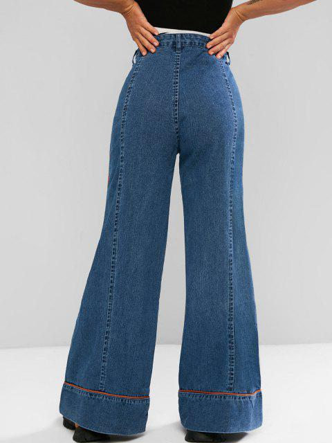 outfit Contrast Piping High Waisted Bell Bottom Jeans - BLUE M Mobile