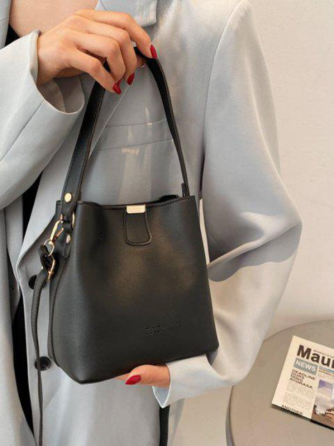 fashion Solid Letter Embossed Dual Handle Bucket Bag - BLACK  Mobile